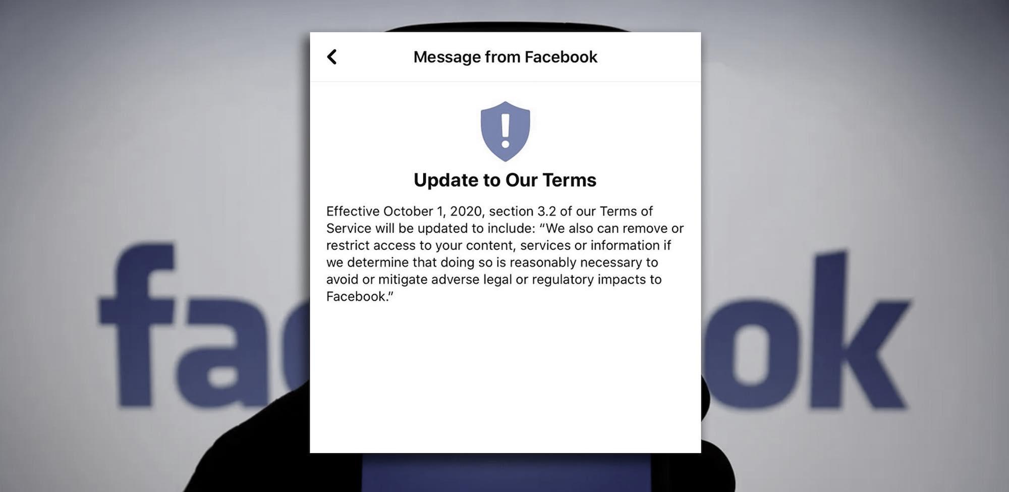 ¿Facebook actualiza sus términos de servicio para justificar la ola de censura definitiva?