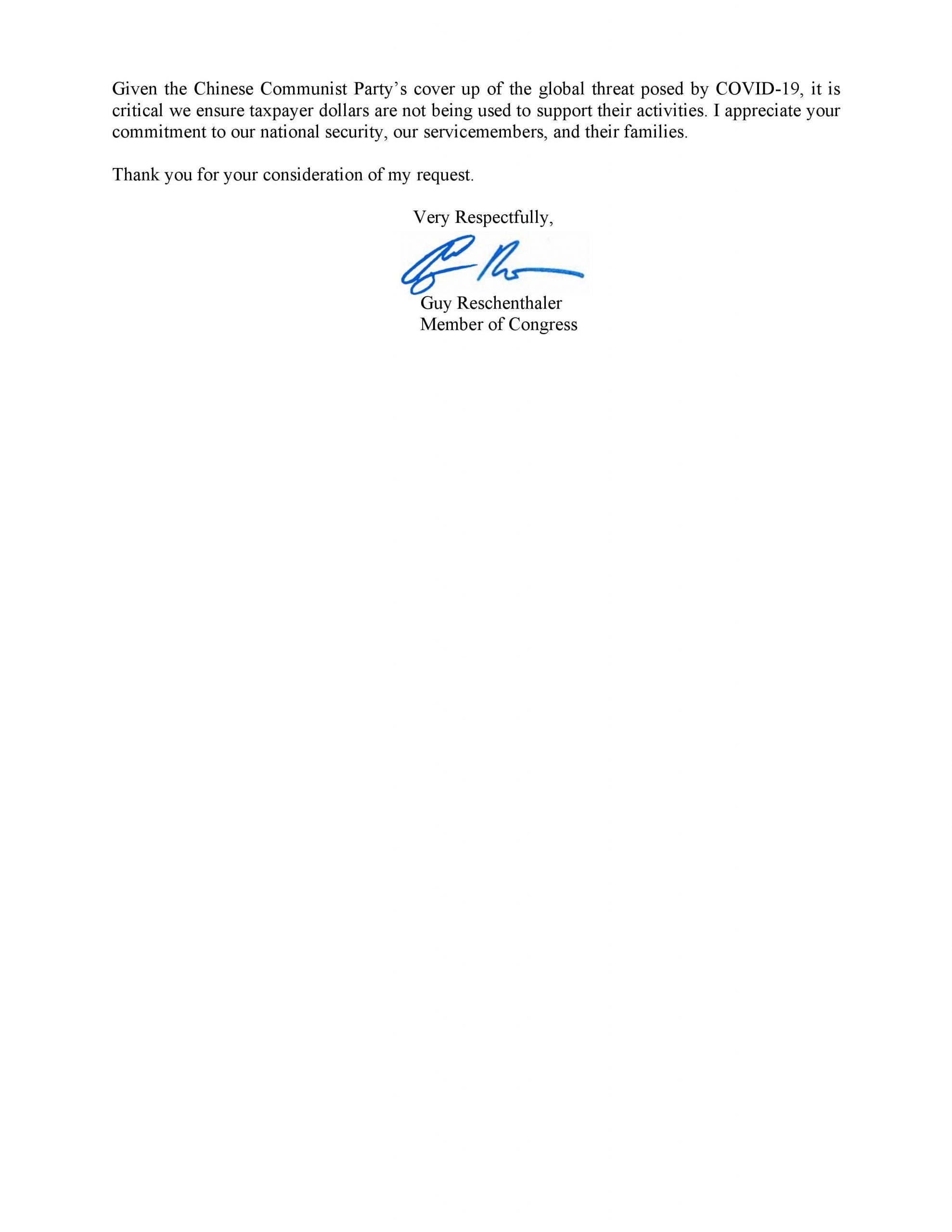 Carta de Guy Reschenthaler, miembro del Congreso, al Secretario de Defensa de EE.UU. en la que solicita más información sobre la subvención de 6,5 millones de dólares a Eco Health Alliance.