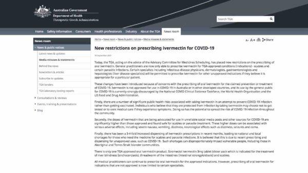 La dictadura sanitaria australiana impone nuevas restricciones en la prescripción de ivermectina para el COVID-19
