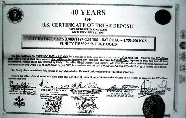 certificado deposito oro